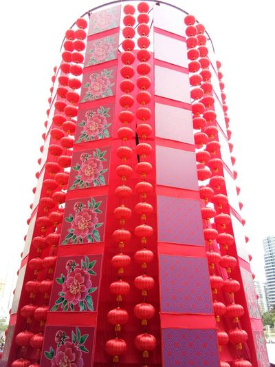 Red Low Angle View Building Exterior Architecture Skyscraper City No People Outdoors Non-western Script Day