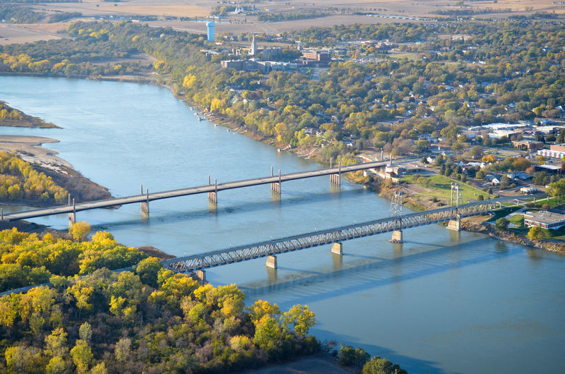 High Angle View Aerial View Aerial Aerial Photography Town City Yankton South Dakota Missouri River River Water Waterfront Riverfront Bridge - Man Made Structure Bridge Bridges Road Street Highway State Line Border Crossing MidWest Infrastructure