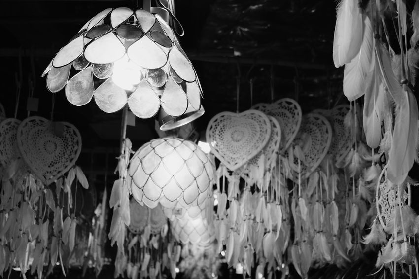 Interior Indoors  Interior Decorating Interior Style Blackandwhite Black And White Blackandwhite Photography Lighting Equipment Recessed Lighting Recessed Light Lights Feathers Illuminated No People Abundance Night Indoors