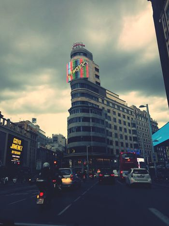 Architecture Car Built Structure Building Exterior Cloud - Sky Land Vehicle Sky Transportation City Road Mode Of Transport Day Outdoors Modern Skyscraper Madrid Callao Madrid Granviamadrid