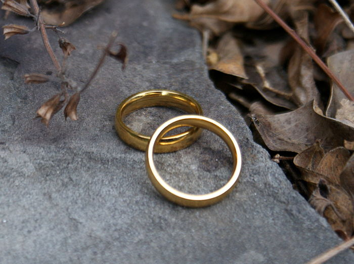 Golden wedding rings sit on a gray stone outside with brown fallen leaves. Autumn Leaves Close-up Day Fallen Leaves Gold Gold Colored Golden High Angle View Jewelry Love Marriage  Nature Neutral Colors No People Outdoors Rings Shining In The Sun Stone Togetherness Wedding Ring