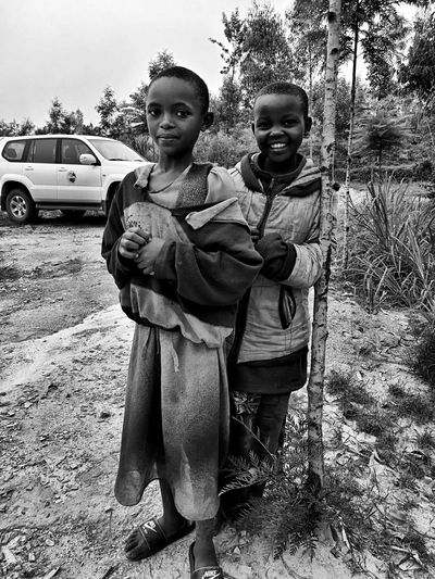 """La Felicità"" Save The Children Congo Landscape EyeEm Best Shots Blackandwhite Looking At Camera Portrait Smiling Togetherness Full Length Childhood Happiness Outdoors Elementary Age Real People Two People Boys Tree Day Girls Lifestyles Bonding Cheerful Young Women Friendship"