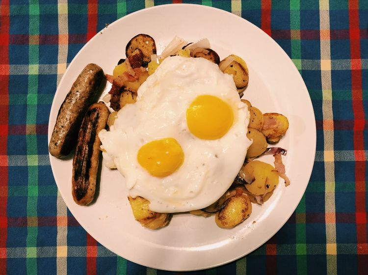 Ein Fressfest! German dinner Fried Potatoes Sausages Plate Food Food And Drink Egg Ready-to-eat Table Freshness Healthy Eating Breakfast Serving Size Fried Egg No People Indulgence