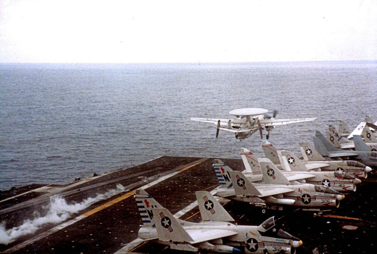 These were taken in 1984. Air Shows are entertaining but there is nothing like the real deal!! These shots were taken on my last deployment to conclude a 27 year career in the U.S. Navy. This is the Nuclear Powered Aircraft Carrier USS Enterprise Battle Group in the Indian Ocean. Air Operations underway with aircraft taking off and landing on deck every few seconds. Around the clock flight operations. An aircraft carrier's flight deck is the most dangerous place to work in the world. Loved every minute of the 27 years; would do it all over again. Aircraft Carrier, Flight Operations, U.S. Navy, Military Aircraft, Tomcats, Carrier Landing, Indian Ocean, USS Enterprise, Readiness, San Diego, California, Transportation Mode Of Transportation No People Day