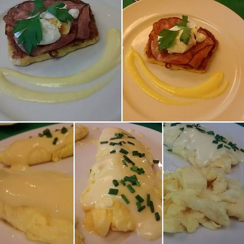 ~egg omelet English style and america style eggs + eggs Benedict EGGBENEDICT Plate Food Breakfast Eggs Ham Chesse