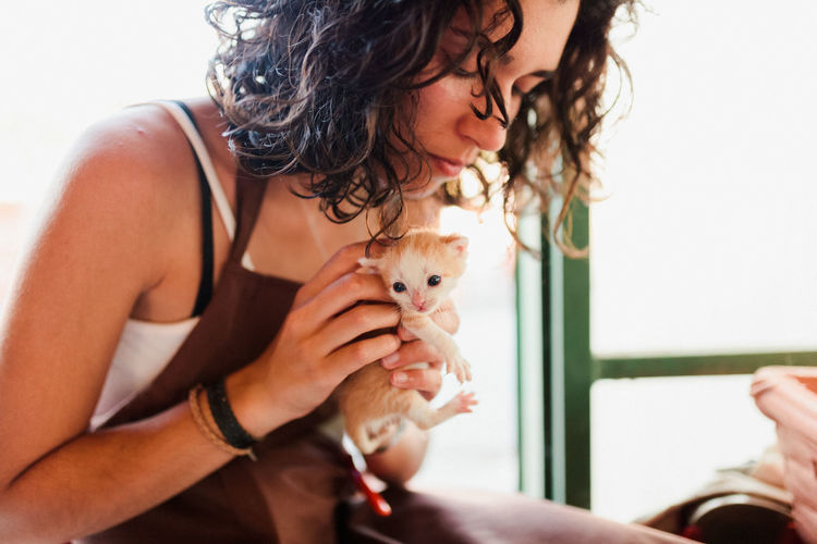 Midsection of woman holding kitten at home