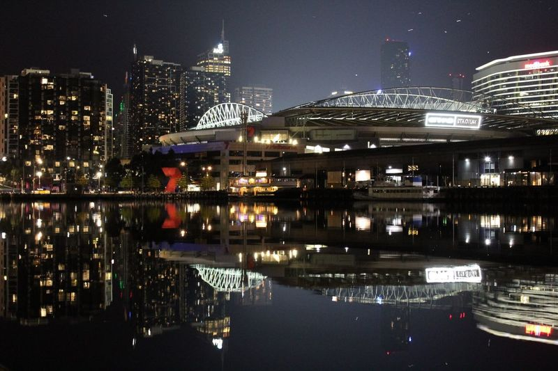 It all depends on the perspective Building Exterior Illuminated Architecture Night City Built Structure Water Reflection Waterfront