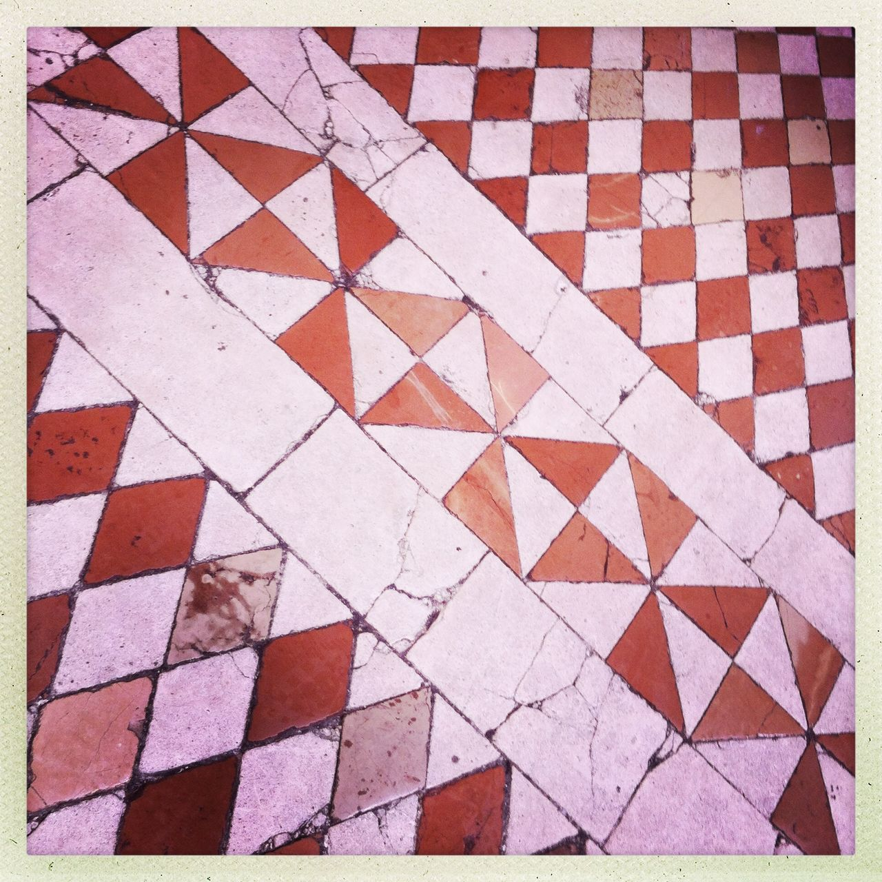 tiled floor, pattern, no people, full frame, backgrounds, tile, day, indoors, close-up, geometry