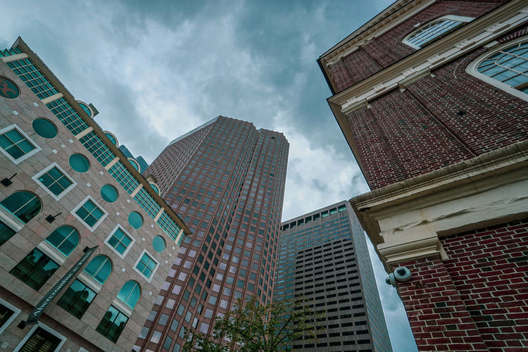 Low Angle View Of Modern Buildings Against Sky In City