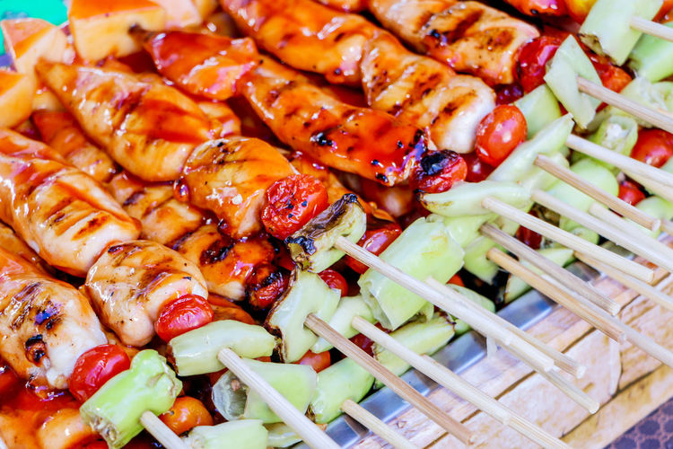 High angle view of vegetables on barbecue grill