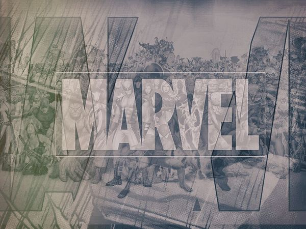 Marvel Logo and Actionheroes blend in to one awesome wallpaper. Marvelcomics MarvelHeroes Creativity Wallpaper BlendPic Iconic Comics Comic Books Superheroes