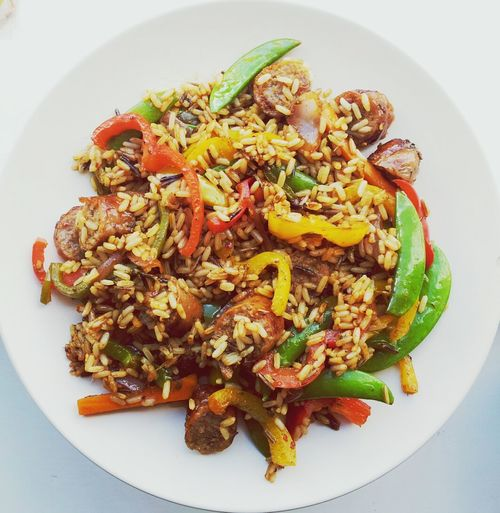 Fried Rice Rice Sausages Vegetables