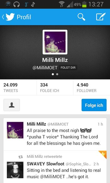 Milli Millz is following me on twitter and Instagram. In twitter he retweetet one of my tweets. And in Instagram he liked two of my images ...I am so happy!