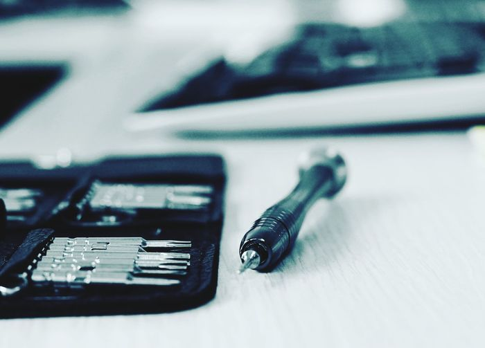 Close-up of work tool on table