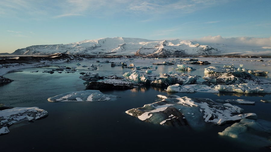 Aerial view of jokulsarlon glacier lagoon - iceland's crown jewel.