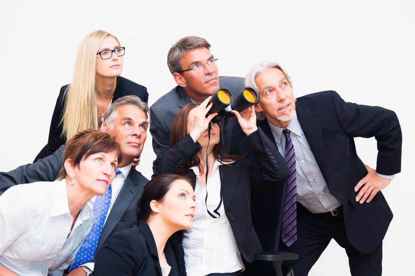 Business Company Office Teamwork Well Dressed Binoculars Business Finance And Industry Business Person Businessman Businesswear Businesswoman Caucasian Group Group Of People Group Shot Indoors  Looking Men People Portrait Professional Team Togetherness Women