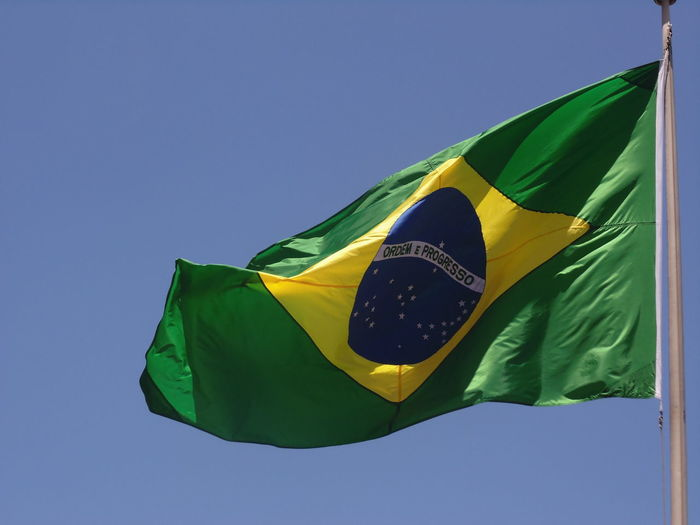 Brazil Day Flag Green Color Low Angle View No People Patriotism