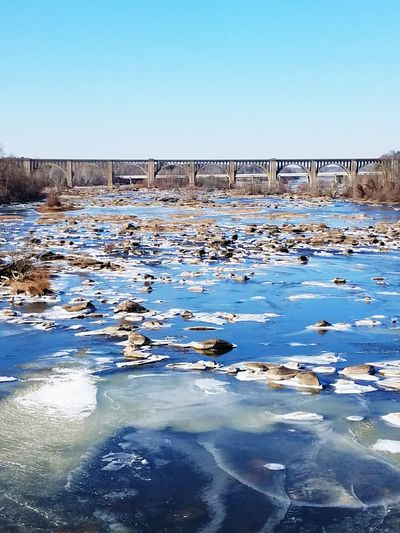 As the River Froze Water Nature Outdoors Day No People Clear Sky Beauty In Nature Winterscapes Sky river cold hiking