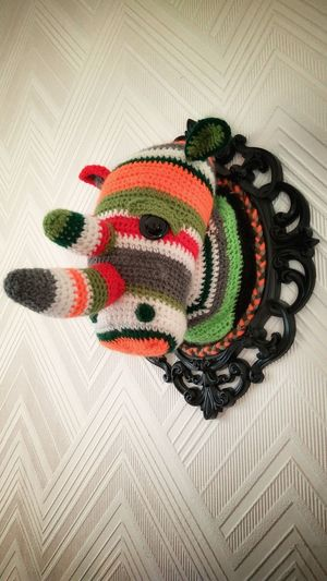 Faux Taxidermy Art And Craft Craft Multi Colored Close-up No People Abstract Art Crochet Rhino Rhino Horn Mount Wool Exploring Style Handmade For You