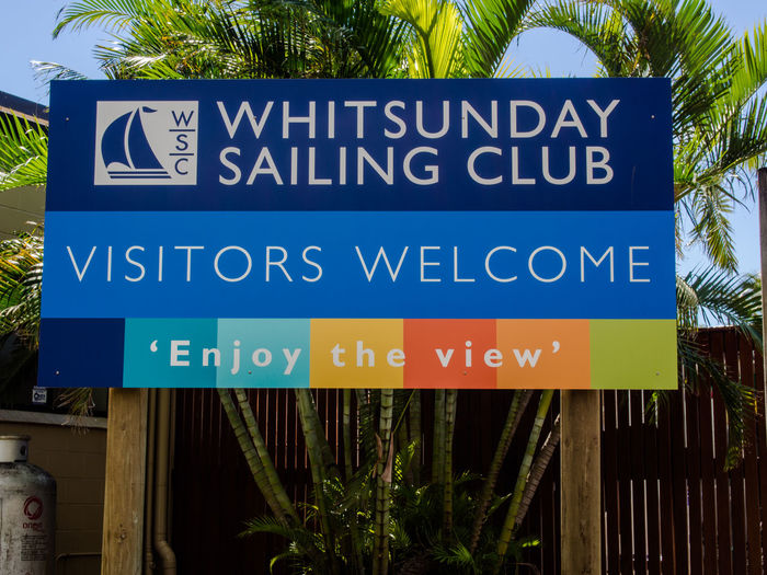 Whitsunday Sailing Club Information Sign No People Sailing Club Sign Visitors Welcome