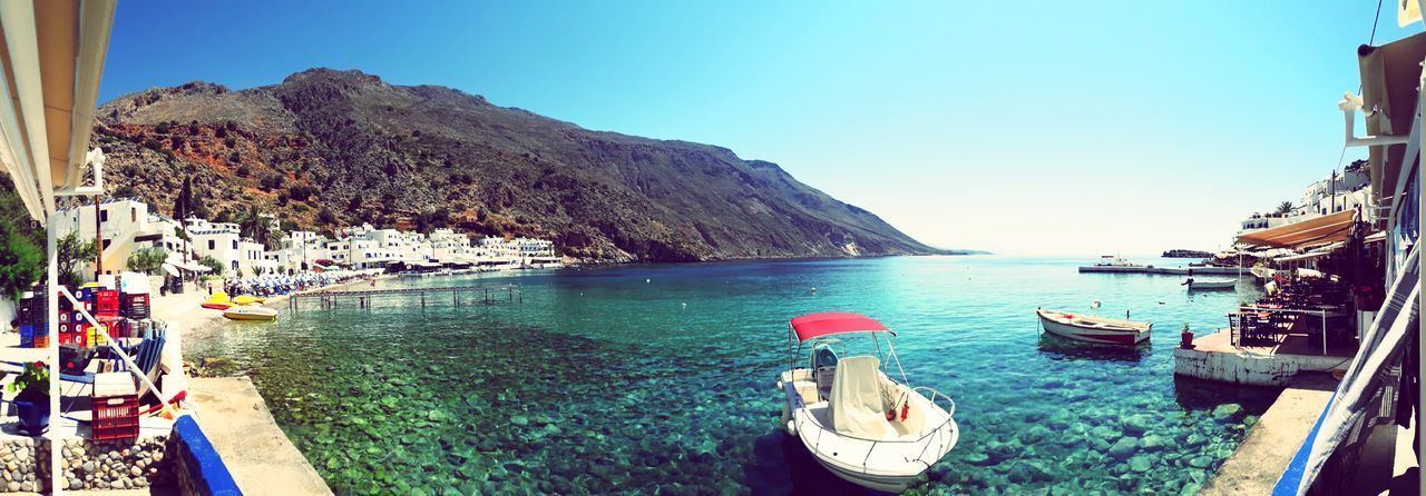 EyeEmNewHere Boat Crete Crete Greece Beauty In Nature Wonderful Boats⛵️ Plage Sea Nautical Vessel Water Outdoors Beach Blue Nature Sunlight Clear Sky Boat Deck Horizon Over Water Panoramic Sky Scenics No People Day