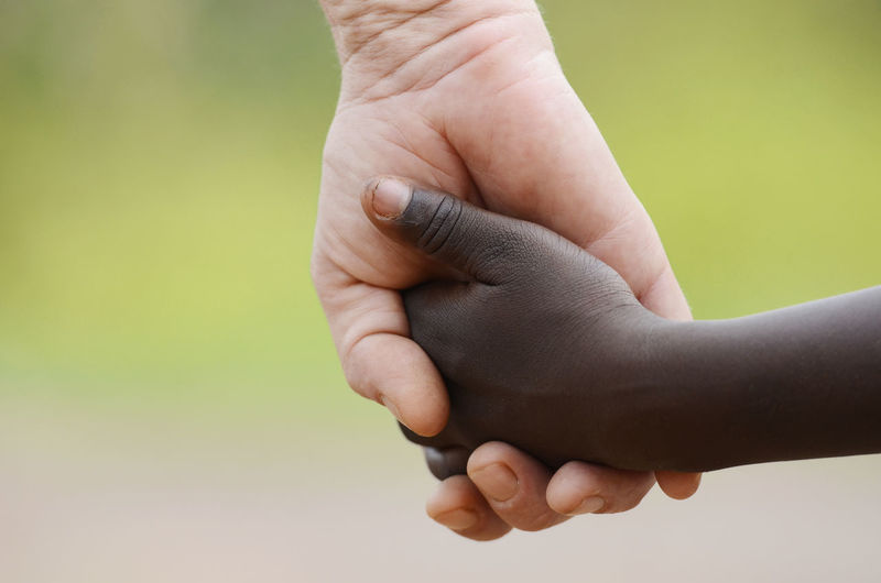 Close-up of hand holding hands over white background