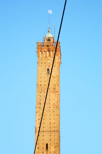 Cable Clear Sky Day Low Angle View Moon No People Sony A6000 Tower Moon On Top Moon At Daylight Cut Through Street Cable Bologna, Italy