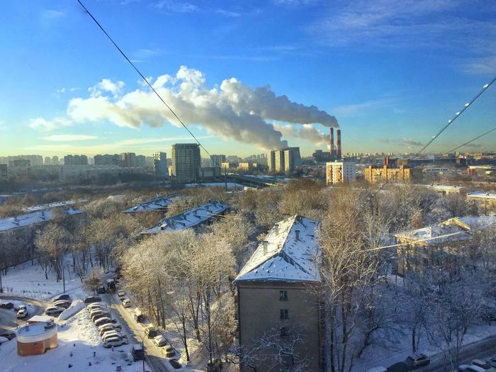 Sky Architecture Building Exterior Built Structure Cold Temperature Winter Snow Landscape Office Building Exterior Cityscape Crane - Construction Machinery Day Outdoors No People Building Environment Industry Nature City Cloud - Sky