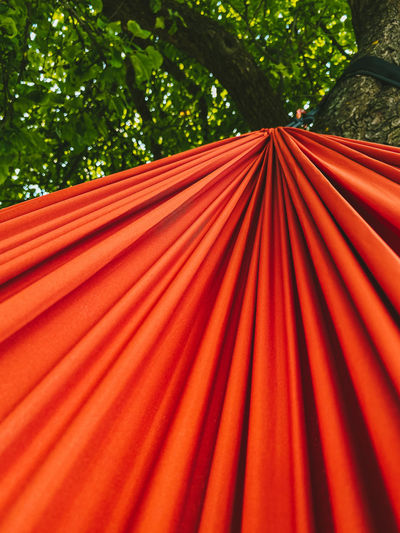 Low angle view of multi colored umbrella against trees