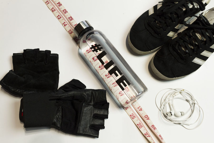 sport concept flatlay Sneakers Dumbbell Active Measure Tape Close-up White Background Composition Weightloss Indoors  Fitness Day Sport Runing Workout Flat Lay Top View Diet Flatlay Traning Still Life No People Lifestyles