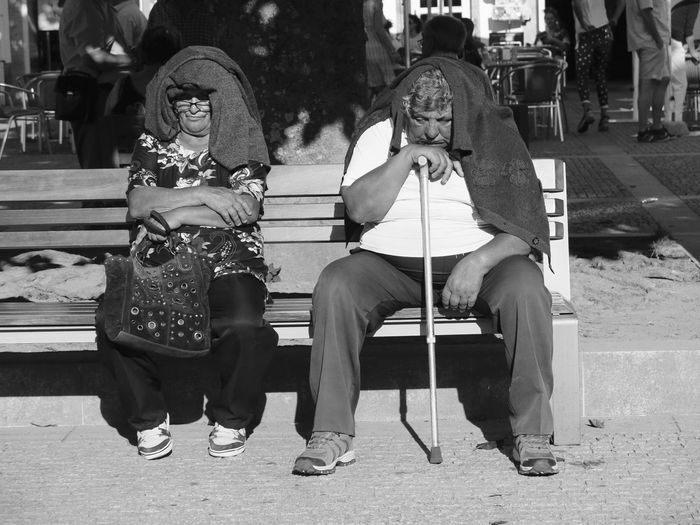 Black & White Portugal Walking Stick Blackandwhite Casual Clothing Day Lifestyles Outdoors Real People Sitting Togetherness Two People Two People On A Bench