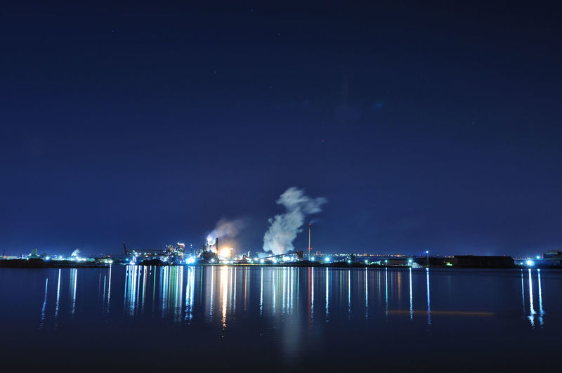"""""""Reflections Of Industry"""" Hamilton Harbor ON Canada Night Smoke - Physical Structure Water Illuminated Smoke Stack Sky Factory Reflection Industry No People Emitting Smoke Fumes Dark"""