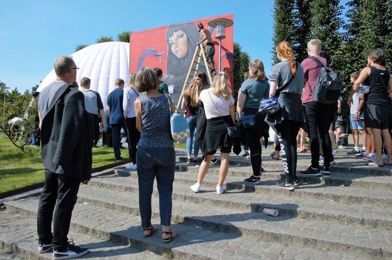 2017 Aarhus City Of Culture Artist Artistic Ladder Day Large Group Of People Men Outdoors People Real People Streetart Togetherness Tree Women