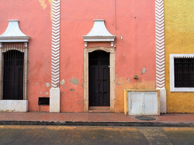 Mexican Facade Architecture Built Structure Building Exterior Door Window Closed Place Of Worship Façade Spirituality Red Religion Entrance Day Outdoors Entryway Front Door Arch Exterior