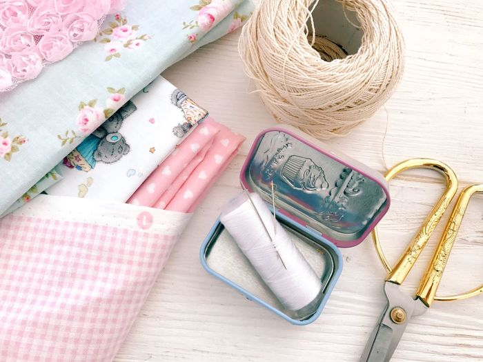 Still Life Indoors  High Angle View No People Towel Close-up Pink Color Group Of Objects Straw Hat Shoe Textile Directly Above Scissors Choice Table Personal Accessory Material Clothing Studio Shot Variation