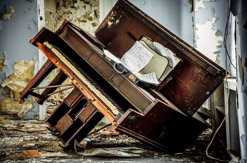 Piano Keys Piano Urban Exploration Music Abandoned No People Old Damaged Obsolete Architecture Day Building Weathered Indoors  Chair