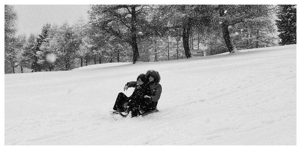 First snow Snowing Snowing ❄ EyeEm Nature Lover Blackandwhite Black And White Wintertime Winter Togetherness White Tree Snow Cold Temperature Winter Snowing Warm Clothing Full Length Togetherness Sled Winter Sport Ski Holiday Ski Slope Powder Snow Deep Snow Moments Of Happiness