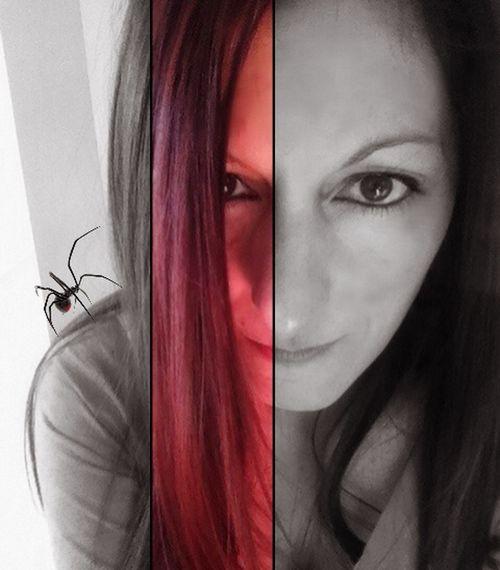 Selfportrait BlackWidow Spider Arachnid Blackandwhite Colorblocking Colorsplash Darkart Gothic