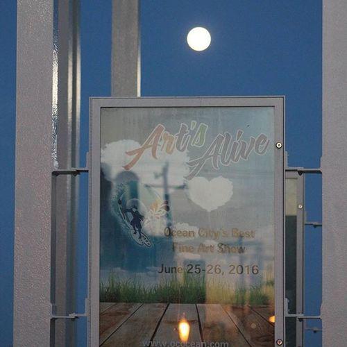 Full moon rising over Art's Alive.... Oceancitycool OceanCity Maryland Ocmd Loveoc Tourworco Artsalive Artsaliveoc