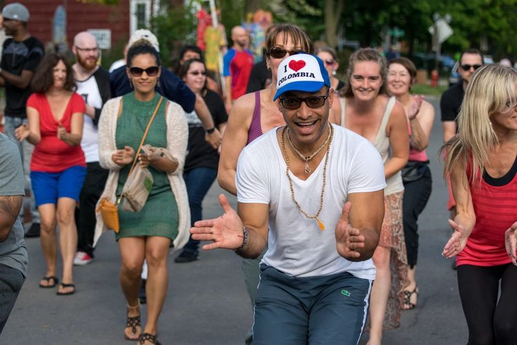 Day Outdoors Large Group Of People Togetherness Men Smiling Real People Hat Fun Wescott Street Festival Sommergefühle City Syracuse Ny Happiness Dancing Columbia Man Urban People Baseball Cap Casual Clothing