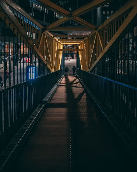 People On Footbridge At Night