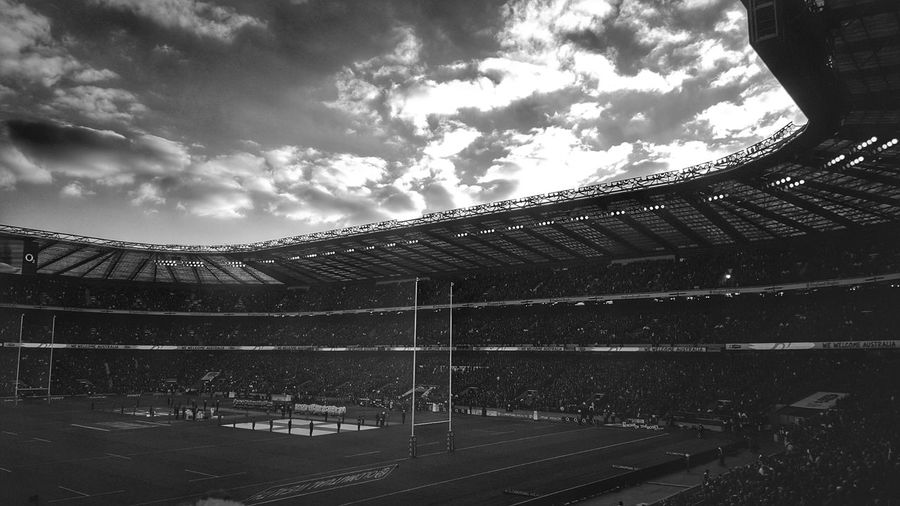 Sport Sky Cloud - Sky Playing Field Stadium Outdoors Sports Venue Match - Sport Rugby Union Twickenham Rugby Urban Exploration Blackandwhite Photography Urbanphotography Sports Event  Black&white Urban Geometry Stadium Sports Stadium Architecture Architecture Built Structure Black And White Collection  Black & White EyeEm Best Shots Day
