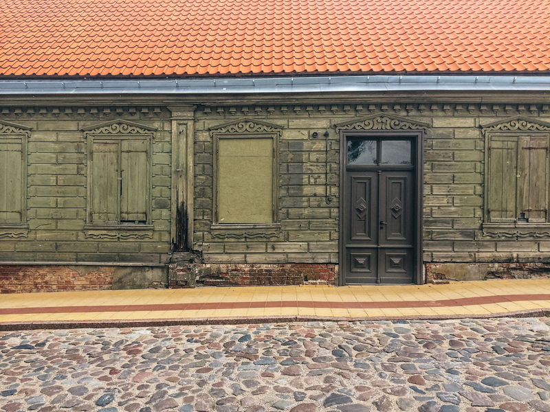 Abandoned building, Kuldiga, Latvia Abandoned Architecture Brick Wall Building Building Exterior Built Structure Cobblestone Day Derelict Door House Kuldiga Latvia Old Buildings Outdoors Pattern Roof Ruin Sidewalk Street Text Wall