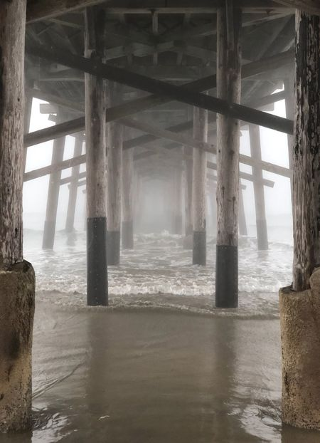 A foggy perspective Winter Morning Leading Lines Bridge Leading Lines Perspective Photography Perspective Wood Structure Wood Wooden Bridge Wood - Material Pier Morning Fog Fog_collection Foggy Day Foggy Morning Fog Underneath Architecture Built Structure Day Below Architectural Column Indoors  Water No People Sea
