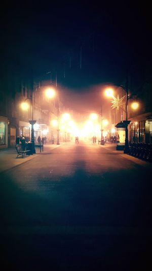 Night Illuminated Cold Temperature Outdoors Beauty In Nature Foggy Landscape Light And Shadow Street Light Streetphotography Street Photo Walking Around The City  Back Home ♥ Łódź Poland These Streets
