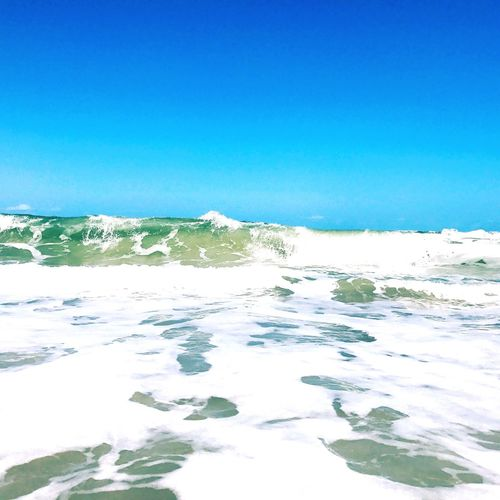 Sea Blue Wave Water Beauty In Nature Nature Scenics No People Clear Sky Tranquility Tranquil Scene Outdoors Beach Day Summer Sky Horizon Over Water
