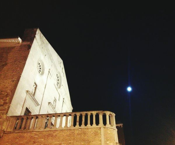 Low Angle View Architecture Moon Building Exterior Sky Night No People Built Structure Clock Astronomy Outdoors Clock Face Midnight