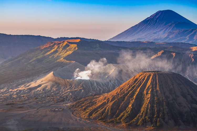 Bromo, batok and semeru volcanoes at sunrise, java island, indonesia