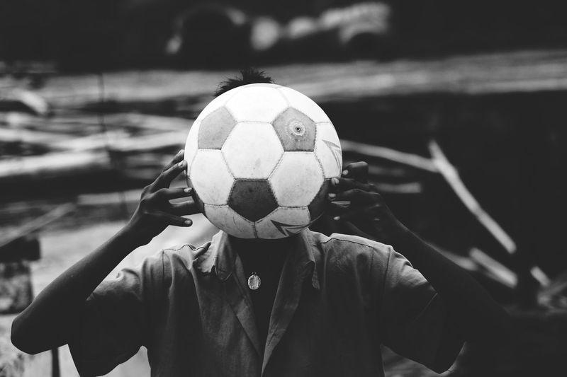 Man standing on soccer field
