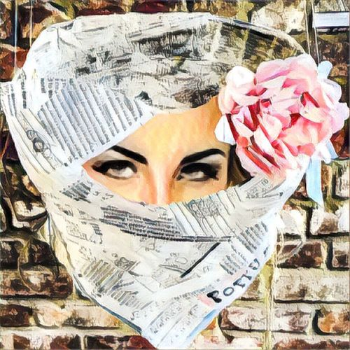 Facial Experiments Escapism From The Hard Reality. Photographic Approximation Burkah In The Paper